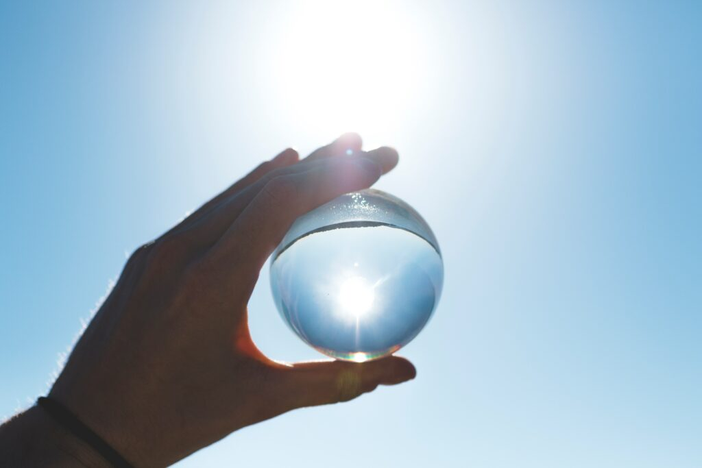 An image of a looking glass, as a metaphor for data analysis